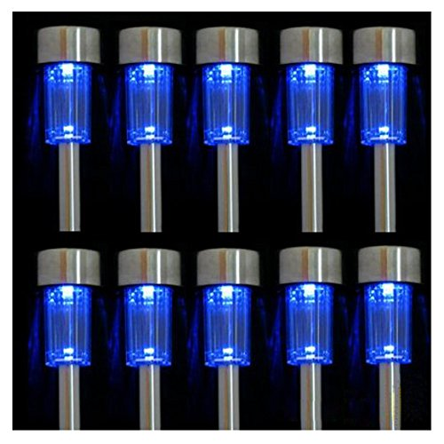 iPerb® 10pcs Blue LED Outdoor Steel Garden Solar Powered Landscape Light Lamp (Solar China Lamp)
