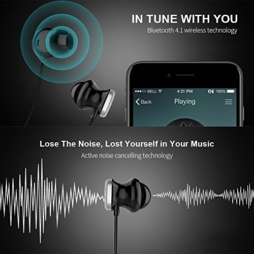 COWIN HE8D Active Noise Cancelling Bluetooth Earbuds, Wireless In-Ear Bluetooth Headphones with Hard Travel Case Built in Microphone Volume Control Enhanced Bass Ear buds- Sliver by COWIN (Image #2)