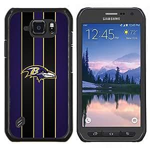 Baltimore Cuervo Fútbol- Metal de aluminio y de plástico duro Caja del teléfono - Negro - Samsung Galaxy S6 active / SM-G890 (NOT S6)