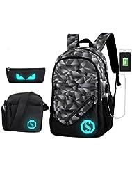 JiaYou Boy Girl Unisex 20L Fashion School Bag Backpack Bookbag with Florescent Mark 3 Sets/2 Sets