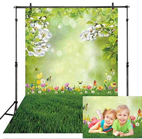 Allenjoy 5x7ft Spring Easter Bokeh Spot Photo Backdrop Green Grass Lawn Garden Flower Photography Background Baby Girl Kids Children Portrait Party Decorations Banner Photobooth Studio -