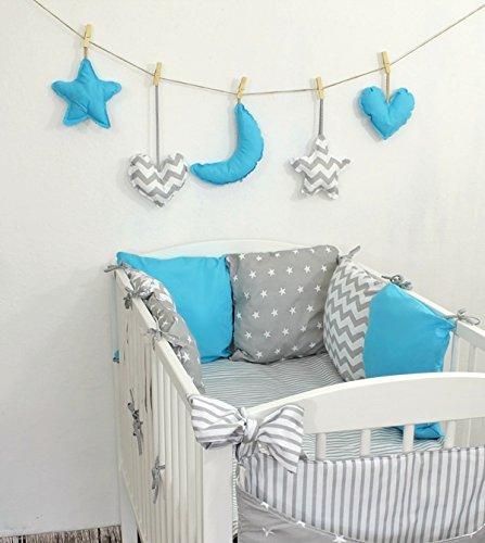 Baby Nestchen Bettumrandung 210 cm Design29 Bettnestchen Kantenschutz Kopfschutz für Babybett Bettausstattung