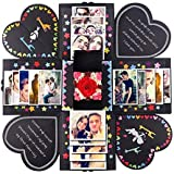 PartyTalk Creative Explosion Box Scrapbook DIY Photo Album Box Wedding Proposal Engagement Birthday Valentine's Day Anniversary Gifts, Black