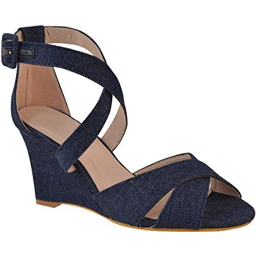 Fashion Thirsty Womens Mid Heel Wedge Cross Strap Summer Sandals Open Toe Buckle Size Dark Blue Denim