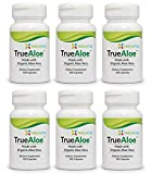 TrueAloe 100% Organic Aloe Vera Capsules - 120 Capsules per Bottle - 6 Pack