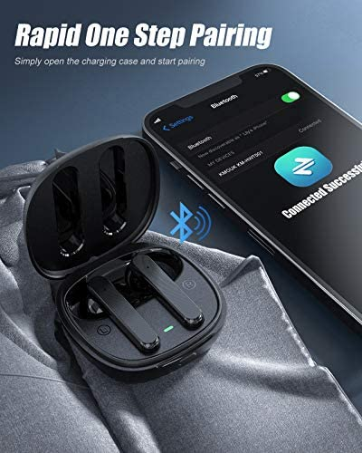 True Wireless Earbuds, KMOUK Noise Cancelling Earbuds with CVC 8.0, Bluetooth 5.2 Clear Call Stereo Audio Headphone, 30H Playtime, IPX8 Waterproof for Sports/Office/Home/Trip