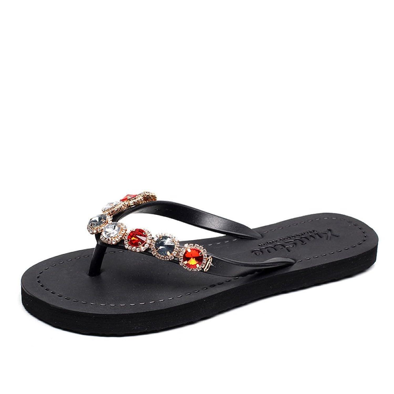 Sommer Flip-Flops Für Mädchen Einfache Flache Rutschfeste Sandalen Flache Ferse Sandalen und Hausschuhe Für Den Außenbereich Mode Strandschuhe Römische Schuhe,Champagne-35