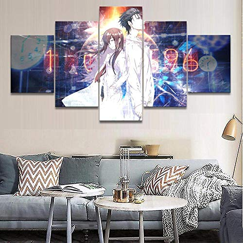 Five Canvas Painting Home Decorative 5 Pieces Anime Steins Gate Paintings Boy Bedroom Canvas Frame Poster Wall Artwork Zapdaz-size1-Framed