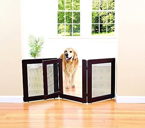 Indoor/Outdoor Mesh Solid Wood And Metal 3 Section Pet Gate With Door - Woods Mesh