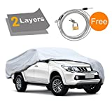 """KAKIT Truck Cover - 2 Layers All Weather Waterproof, Windproof, for Summer Outdoor, Car Cover for Truck Pickup Auto, Free Windproof Ribbon & Anti-theft Lock, Fits up to 242"""""""