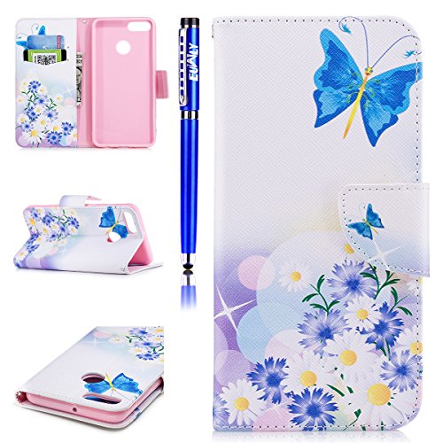 Book Ma Pu Card Cover Slots Elegant Wallet Pattern Kickstand Case Case Wallet Leather Colorful Huawei Cash Protective Beautiful 2018 Pattern Case EUWLY 2018 Y9 and Y9 Retro Leather in Love 3D Flip Huawei Butterflies fqBxn6Ow64