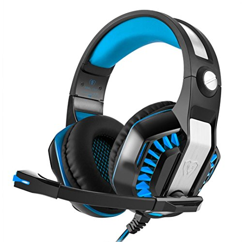 Price comparison product image Boofab Stereo Gaming Headset for Xbox one PS4 PC,  Surround Sound Over-Ear Headphones with Noise Cancelling Mic,  LED Lights,  Volume Control for Laptop,  Mac,  iPad,  Nintendo Switch (Sky Blue)