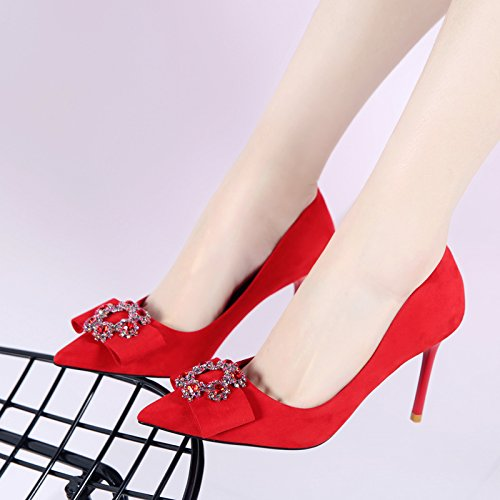 HGTYU-Water Drill Bow Tie Shoes Black Heel Shoes Shallow Slender Heel Shoes gules mFXpN21q7F