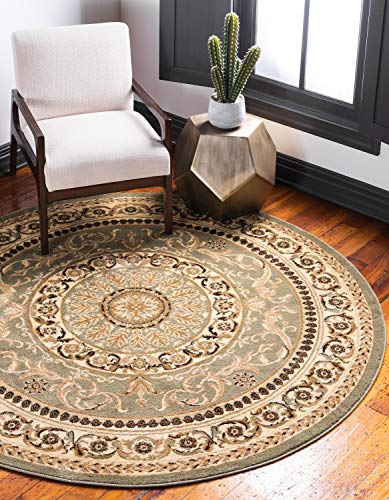 Unique Loom Versailles Collection Traditional Classic Light Green Round Rug (6′ x 6′)