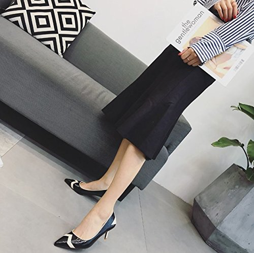 Heeled Black Mouth With Work Fine Fashion Elegant Shoes The Shoes Color High Shallow Pointed 38 MDRW Lady 6Cm Patent Work Spring Leisure xOFpqFa