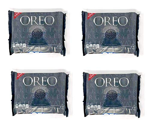 Oreo Game of Thrones Themed Chocolate Cookies - Limited Edition - Pack of 4 Bags - 15.25 oz per Bag