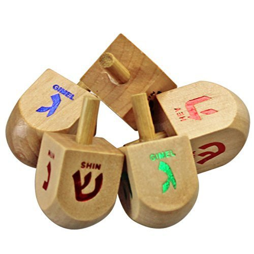 Classic 50 Medium Sized Wooden Dreidels in assorted colors (Instructions -