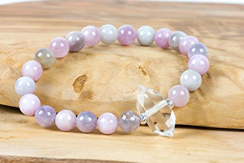 Pink Green Kunzite Bracelet, Double Terminated White Crystal Natural Gemstone Bracelet, Handmade Gemstone Jewelry, Women's Fashion