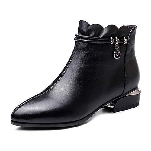 Damas para Mujer Botas Chelsea Botines De Cuero Negros Zapatos De Tacón Bajo A Media Pierna