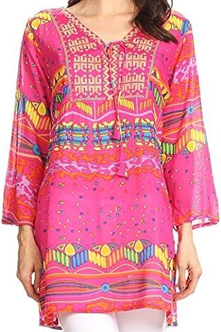 Sakkas 20173 - Carina Tie Front 3/4 Sleeve Tunic with Cross Stitch Embroidery - Pink - 2X (Sakkas 3x)