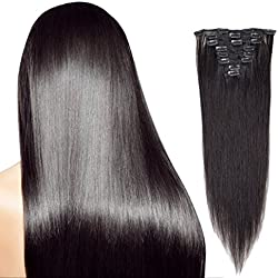 "24"" Clip in Hair Extensions Real Human Hair Extensions #1B Natural Black Clip on Full Head 8 pieces Silky Straight Weft Remy Hair (24inches, 1B) Lakihair"