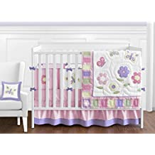 Pink and Purple Butterfly Flower Collection Baby Girl Bedding 9pc Crib Set by Sweet Jojo Designs