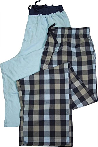 Hanes - Mens 2 Pack Woven Plaid and Solid Knit Lounge Pants, Blue 39749-X-Large