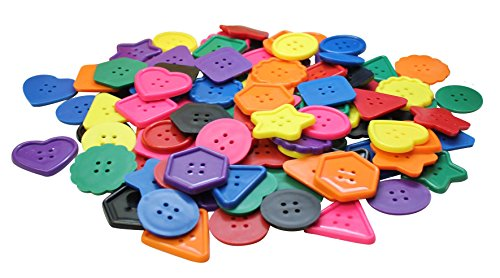 Curious Minds Busy Bags Bulk Large Lacing Craft Buttons (one Pound Approx Plastic 96 Buttons) Rainbow Assortment OT