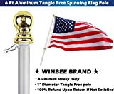 Aluminum Heavy Duty Flag Pole - 6 Ft Tangle Free Spinning Flag Pole Residential or Commercial, Best Wall Mount Flagpole for American Flag with Grommets, Wind Resistant and Rust Free (Silver + Gold)