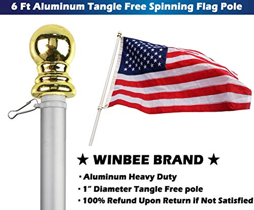 Aluminum Heavy Duty Flag Pole - 6 Ft Tangle Free Spinning Flag Pole Residential or Commercial, Best Wall Mount Flagpole for American Flag with Grommets, Wind Resistant and Rust Free (Silver + Gold) by Winbee