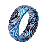 GOLDAYS 8mm Tungsten Carbide Rings for Men with The Blue Arc of Wood Classic Engagement Wedding Band (8.5)