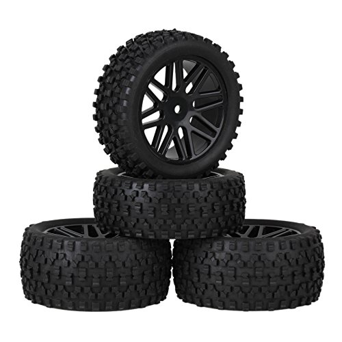 Mxfans Black Plastic 16 Spoke Wheel Rims + H Type Rubber Tyres Tires for RC 1:10 Off Road Car Buggy Spare Parts Pack of 4
