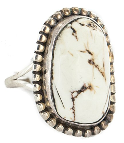 $200Tag Silver Certified Navajo Natural White Buffalo Native American Ring 16959-1 Made by Loma - Ring American White Native