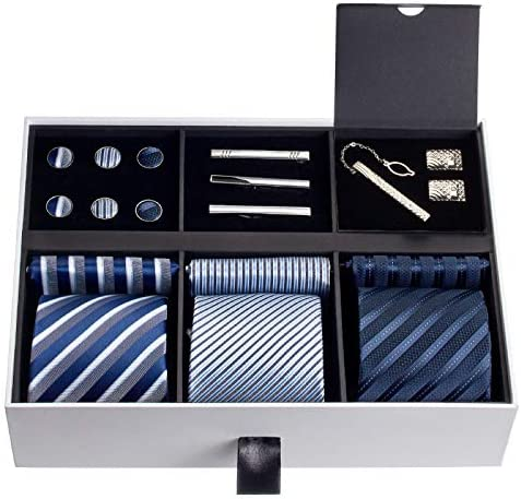 Cuff links and Fabric Tie Keyring Gift Set for Father/'s Day Mens Pen