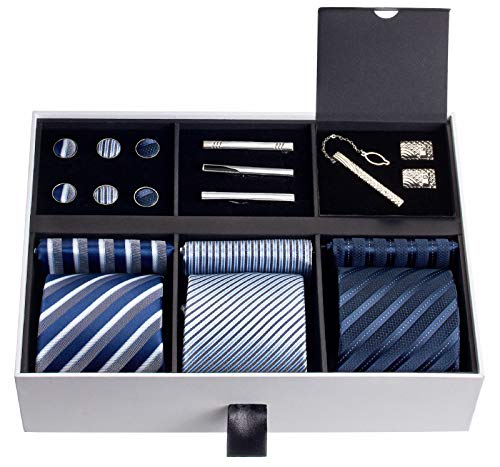 Premium Men's Gift Tie Set Luxury Silky Necktie Set Pocket...