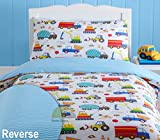 Kidz Club Bright Trucks Junior Duvet Cover and Pillowcase Set, Reversible Quilt, Digger, Cement, White