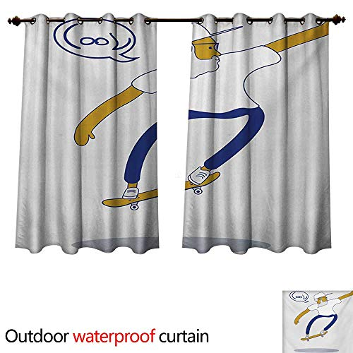 WilliamsDecor Indie Outdoor Balcony Privacy Curtain Cool Hipster Old Man on Skateboard with Beard Sunglasses Urban Character W84 x L72(214cm x ()