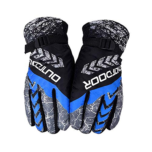 - ZTY66 Ski Gloves - 3M Thinsulate Insulated Warm Snow Gloves, Windproof Waterproof Breathable Winter Gloves for Men & Women (Blue)