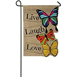 "Evergreen Live Laugh Love Double-Sided Burlap Garden Flag- 12.5""W x 18""H"