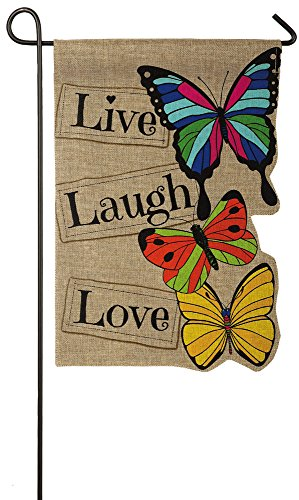 Evergreen Live Laugh Love Double-Sided Burlap Garden Flag- 12.5