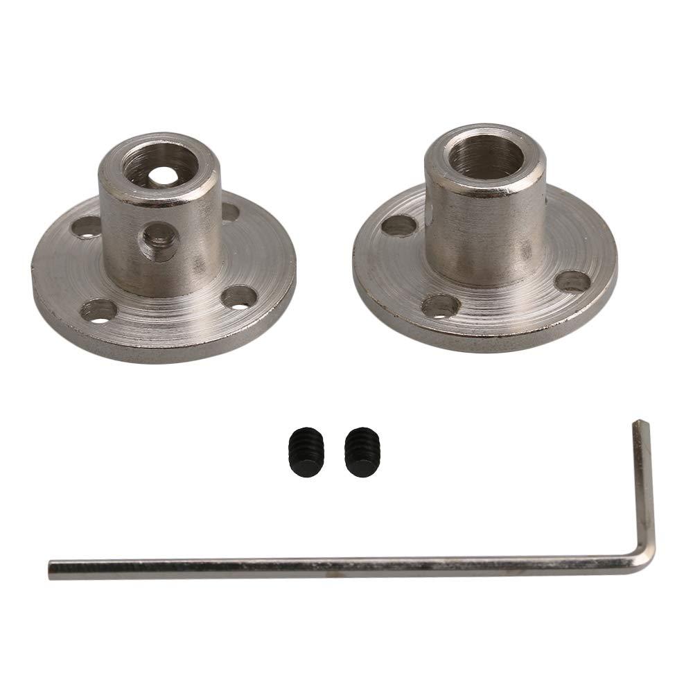 BQLZR paquete de 2 6 10 mm forma redonda eje de conector para modelo RC DIY piezas Acoplamiento de brida r/ígido de acero plateado