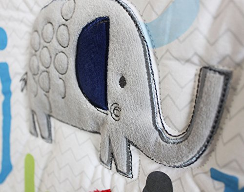 NAUGHTYBOSS Baby Bedding Set Cotton Early Education 3D Embroidery Letter Elephant Quilt Bumper Mattress Cover Blanket 8 Pieces Blue by NAUGHTYBOSS (Image #4)