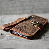 handmade genuine leather wallet case fit iphone 8 plus 5.5