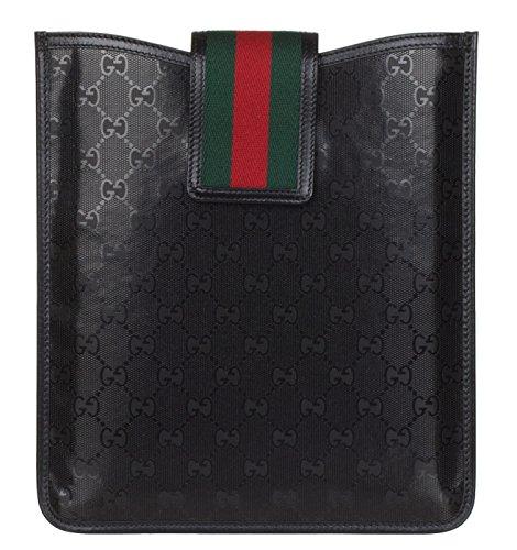 Gucci Black GG Guccissima Fiat 500 Edition Web Stripe Ipad Case