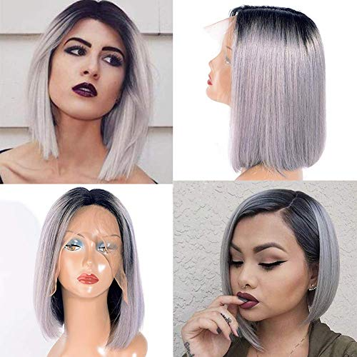 Human Hair Lace Front Wigs Ombre T1b/Grey Cut Bob Wig Straight Wave Bleached Knots Pre Plucked Lace Wigs With Baby Hair Center Part Bob Wigs Dark Roots To Sliver Grey - Grey Combs