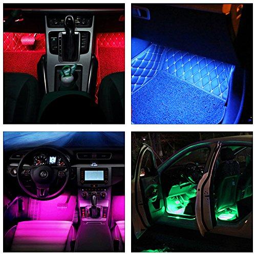 guaiboshi led voiture clairage intrieur lampe lot 4 en 1 48leds rgb tanche ruban bande led