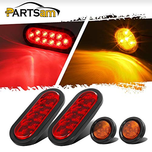 Partsam LED Small Trailer Light Kit, (2) Red 10 LED 6