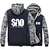 Holran Men's Hoodie SAO Japanese Anime Sword Art Online Asuna Thick Jacket (Large, Navyblue)