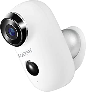 Faleemi Wireless WiFi Rechargeable Battery Powered Security Camera, Full HD Weatherproof Surveillance Camera with Motion Detection, Night Vision, 2 Way Audio, Memory Card Slot, Cloud Storage (White)