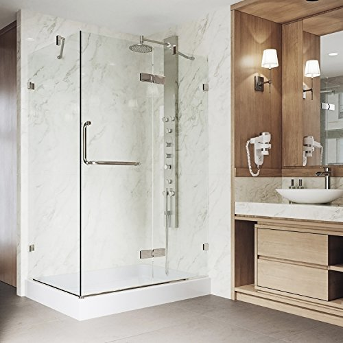 VIGO 32 x 48 Inch Frameless Rectangular Hinged-Pivot Shower Door Enclosure with Tempered Glass, Magnetic Waterproof Seal Strip and 304 Stainless Steel Hardware - Brushed Nickel Finish, Right Drain Base Included